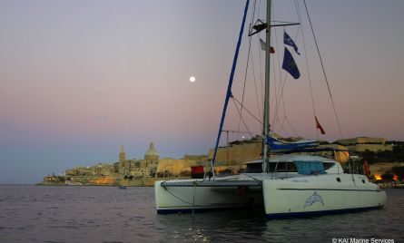 The 'Aurora Boreal' catamaran used as the research vessel moored with Valletta in the background. During the BOV Boat show in September, the vessel was also used as a show case of this project. During this show, MEPA (in an appropriate gazebo for promoters in this show) also showed a looped video (as also shown from inside the boat) of the survey work done in summer 2013. This helped to further promote the project and raise awareness to boat owners and potential boat owners who attended this boat show event spread over a number of days.