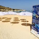 LIFE Migrate beach umbrellas and informative banner